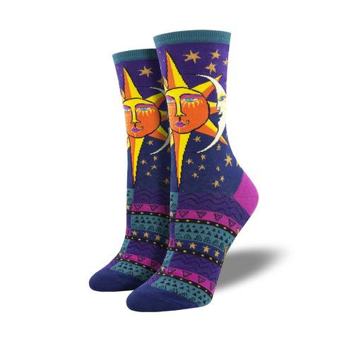 Womens Socks - Sun and Moon