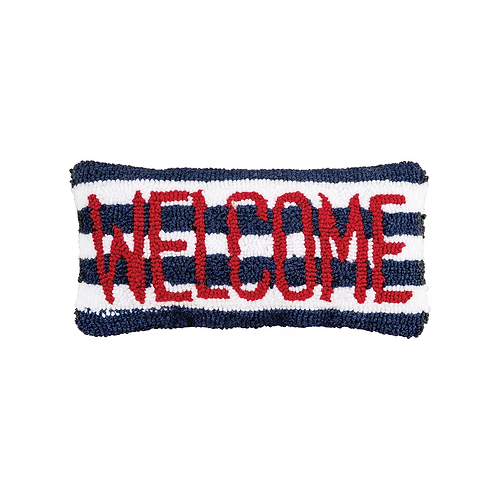 """Welcome Striped Hooked Pillow - 12"""" x 6"""""""