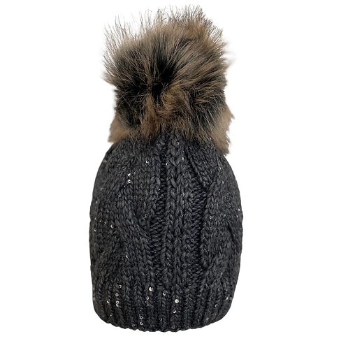 Cable Knit Beanie with Sequins in Pewter