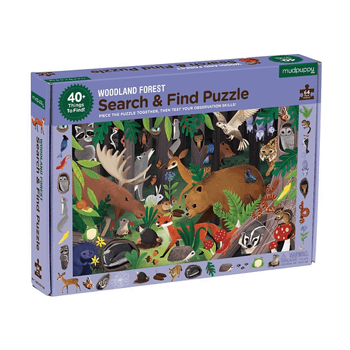 64 Piece Puzzle - Search and Find Woodland
