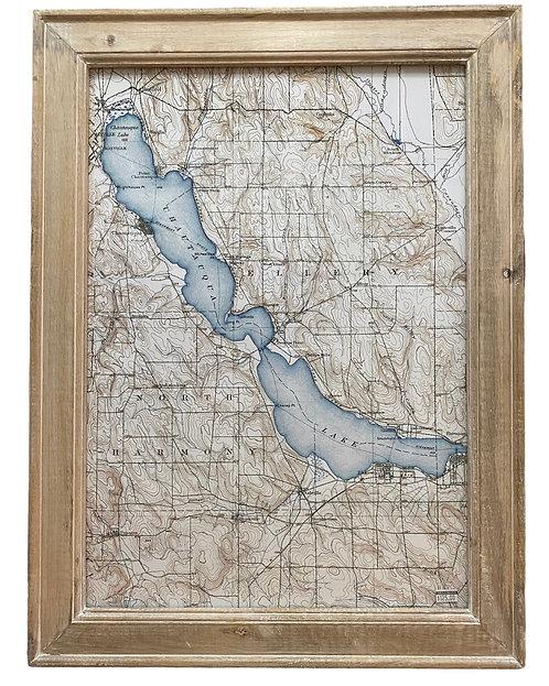 Chautauqua Lake Map in Wood Frame