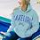 Thumbnail: Lakegirl Sanded Fleece Paddles Hoodie in Surf/Periwinkle