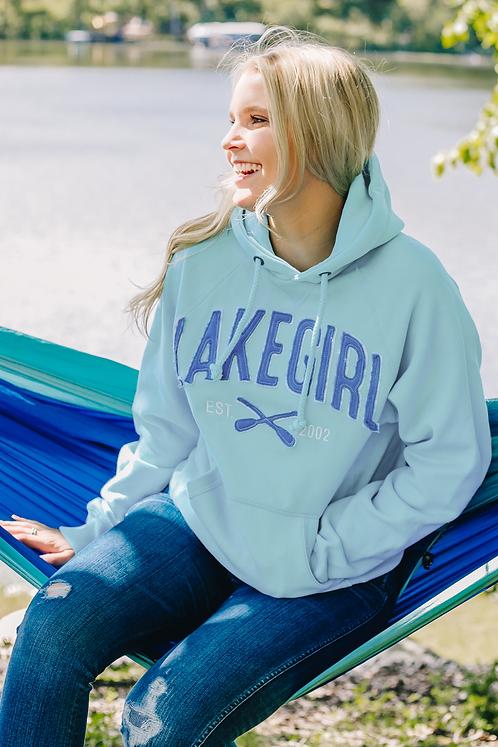 Lakegirl Sanded Fleece Paddles Hoodie in Surf/Periwinkle
