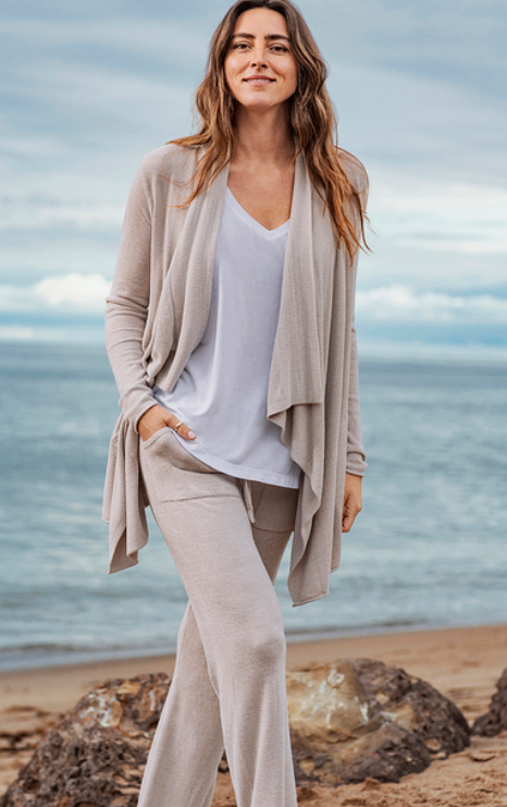 Barefoot Dreams Hi/Low Cardi in Fog Gray