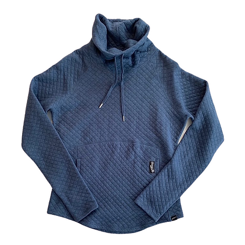 Chautauqua Lake Quilted Funnel Neck in Heathered Lapis