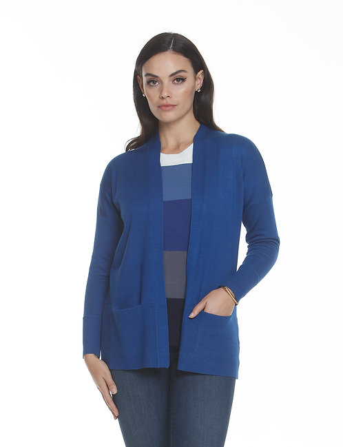 Metric Knits Cardigan with Pockets in Soft Blue
