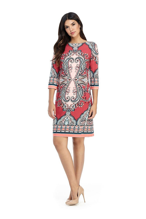 London Times Printed Shift Dress in Roset