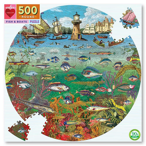 500 Piece Round Puzzle - Fish and Boats