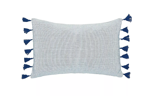 "Indigo Striped Pillow - 14"" x 22"""