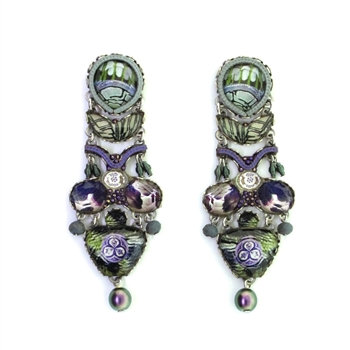 Fabric and Crystal Earrings - Blue Planet