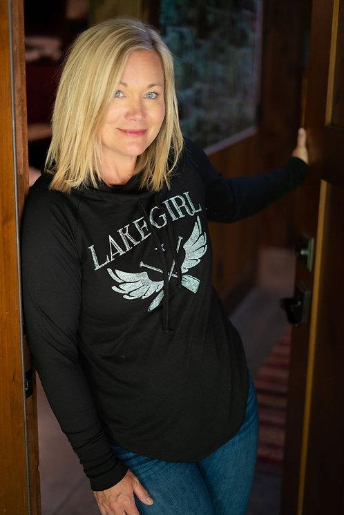 Lakegirl Winged Paddle Cowl Neck Hoodie in Black