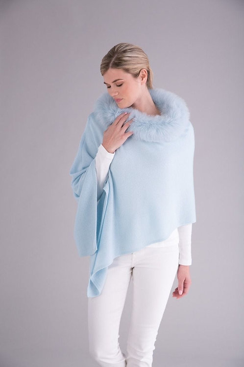 Cashmere Poncho with Trim in Heavenly Blue