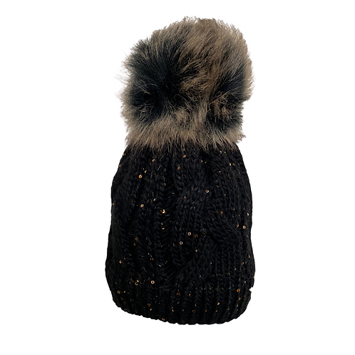 Cable Knit Beanie with Sequins in Black