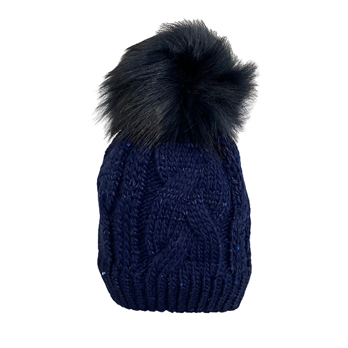 Cable Knit Beanie with Sequins in Navy