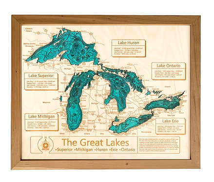"24 x 30"" Laser Cut Map - Great Lakes (With Chautauqua) in Cherry Frame"