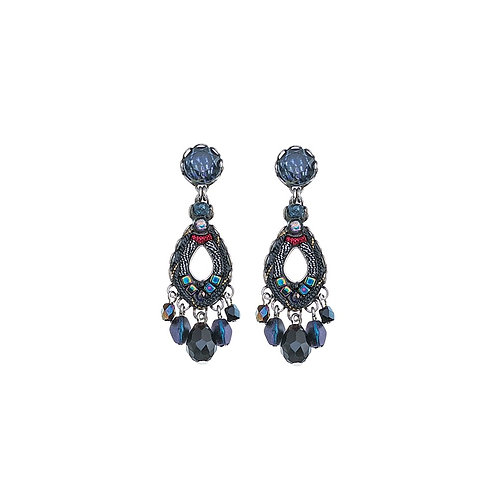 Fabric and Crystal Earrings - Maui Rock