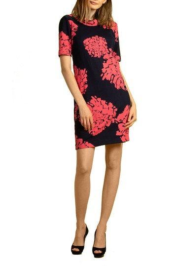 Trina Turk Olinda Roll Neck Dress in Navy/Teaberry Pink