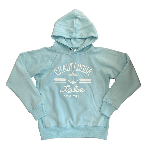 Chautauqua Lake Youth Hoodie with Anchor in Surf