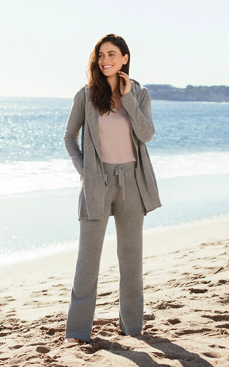 Barefoot Dreams Hooded Cardi in Beach Rock
