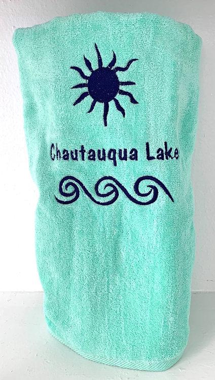 Chautauqua Lake Beach Towel in Mint