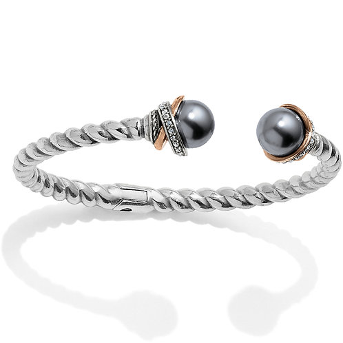 Brighton Neptune's Rings Gray Pearl Open Hinged Bangle