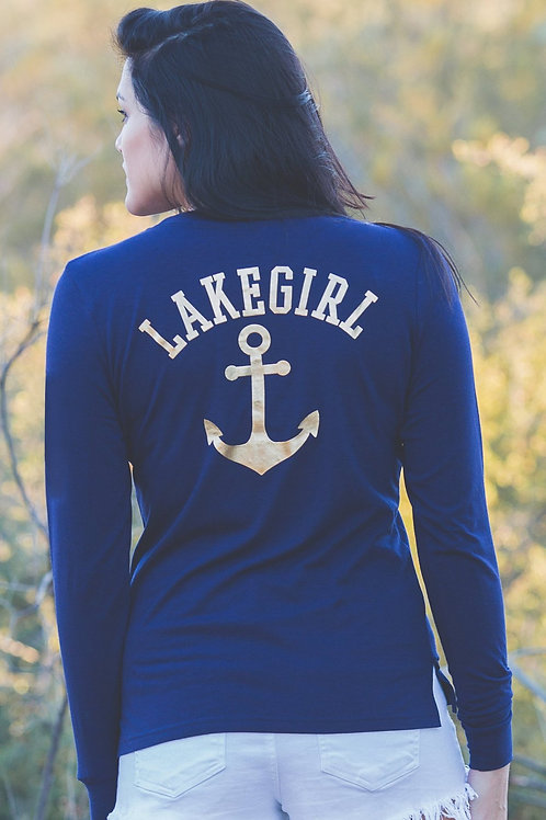Lakegirl Gold Anchor Pocket Long Sleeve Tee