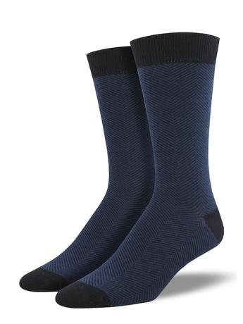 Mens Socks - Navy Herringbone