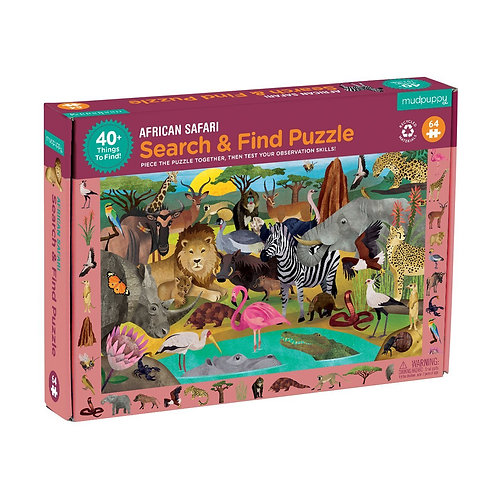 64 Piece Puzzle - Search and Find African Safari