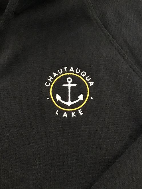 Chautauqua Lake Fleece Lined Funnel Neck Sweatshirt in Black