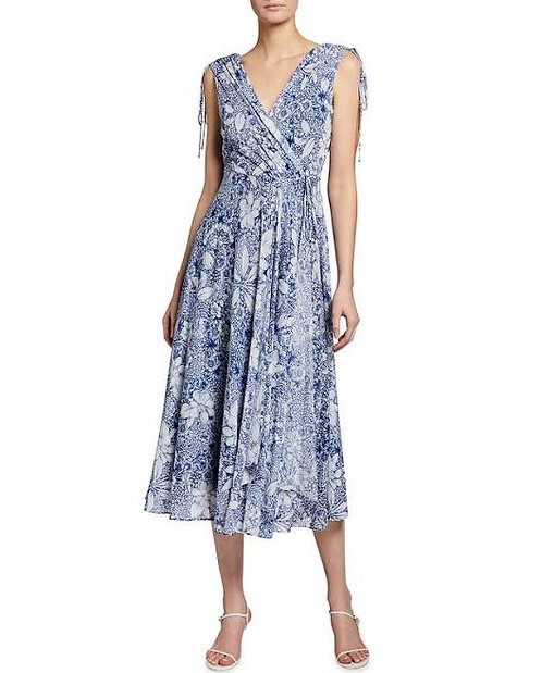 Taylor Floral Printed Flutter Dress in Navy/Ivory