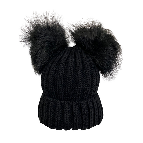 Chunky Knit Double Pom Beanie in Black