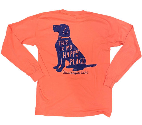 Chautauqua Lake Long Sleeve T-Shirt: This is My Happy Place in Orange