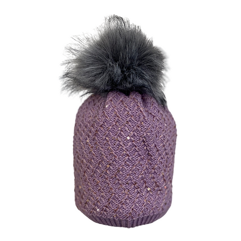 Sequin Beanie in Lilac