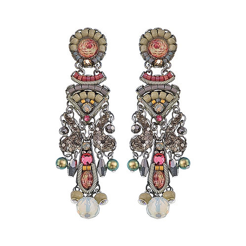 Fabric and Crystal Earrings - Como