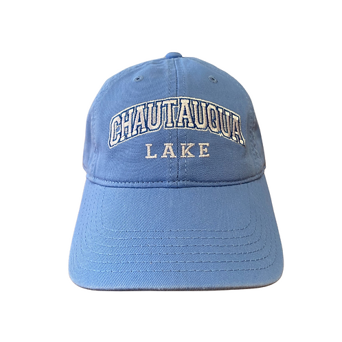 Chautauqua Lake Baseball Hat - Arched Logo in Powder Blue