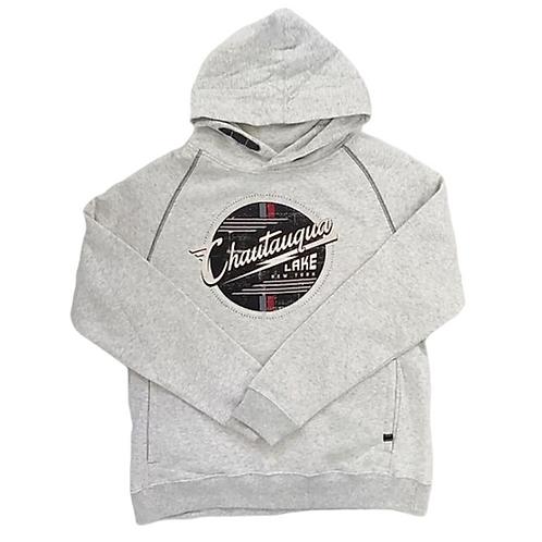 Chautauqua Lake Hoodie - Vintage Garage Logo in Heathered Oatmeal/Gray