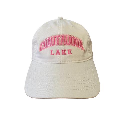 Chautauqua Lake Baseball Hat - Arched Logo in White