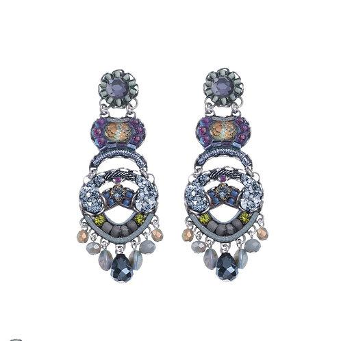 Fabric and Crystal Earrings - Hemlock