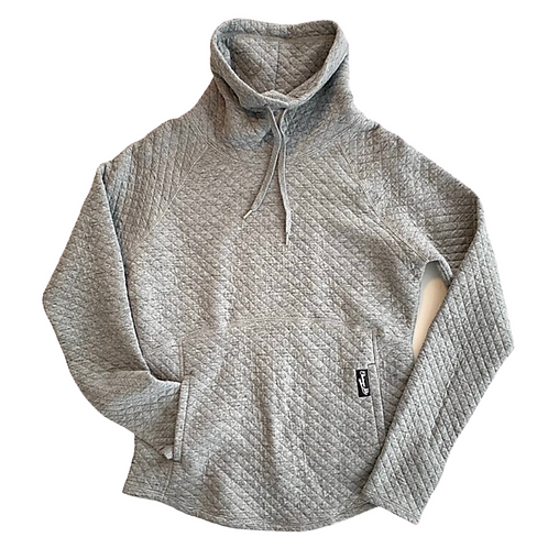 Chautauqua Lake Quilted Funnel Neck in Heathered Steel