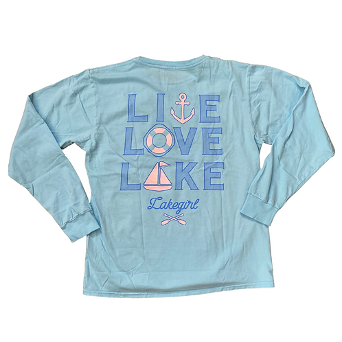 Lakegirl Live-Love-Lake Long Sleeve Tee in Blue Glow