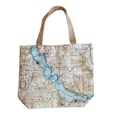 Chautauqua Lake Map Canvas Tote Bag