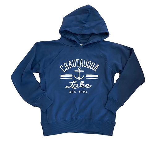 Chautauqua Lake Youth Hoodie with Anchor in Steel Blue