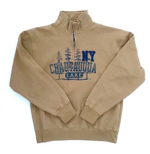 Chautauqua Lake 1/4 Zip with Raised Logo in Russet Brown