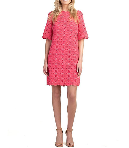 Trina Turk Boatneck Lace Dress in Teaberry Pink