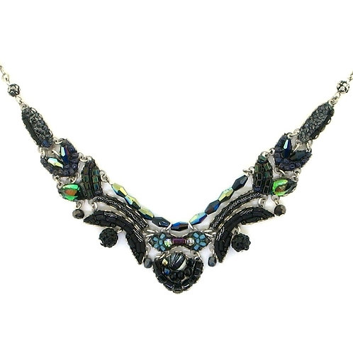 Fabric and Crystal Necklace - Midnight Voodoo