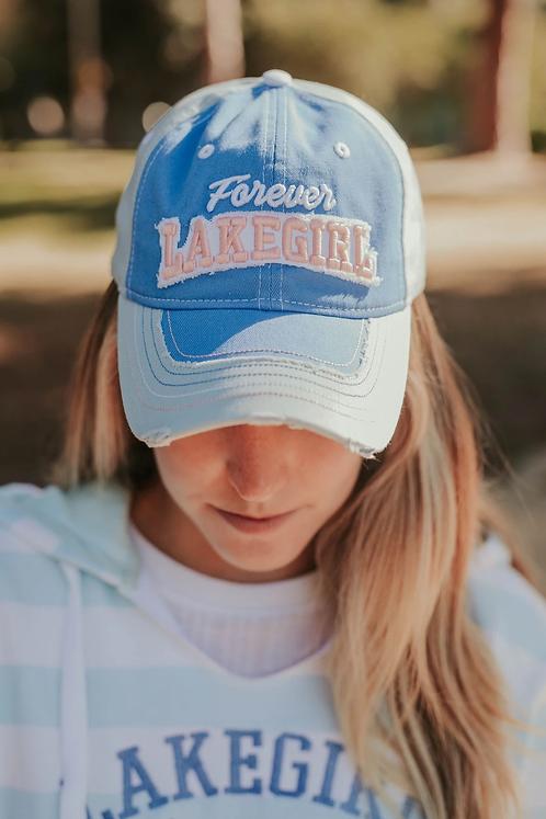 Lakegirl Distressed Mesh-Back Hat in Periwinkle