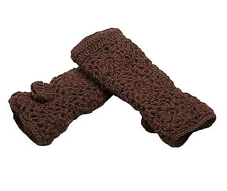 Fingerless Gloves in Brown