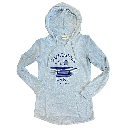 Chautauqua Lake Soft Hoodie with Dock Scene in Dusty Blue