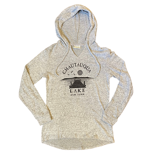 Chautauqua Lake Soft Hoodie with Dock Scene in Gray
