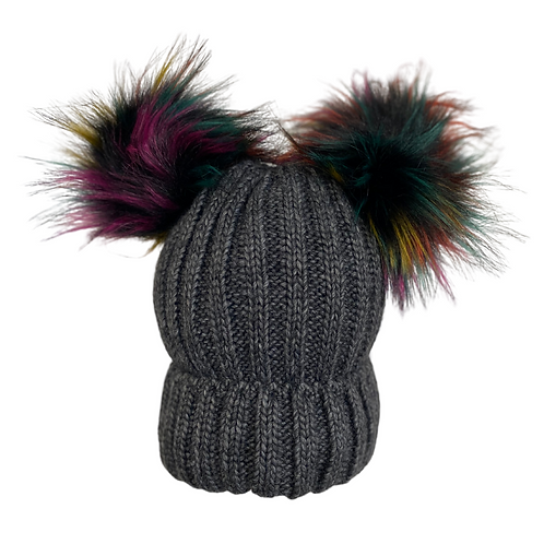 Chunky Knit Double Pom Beanie in Charcoal/Multi